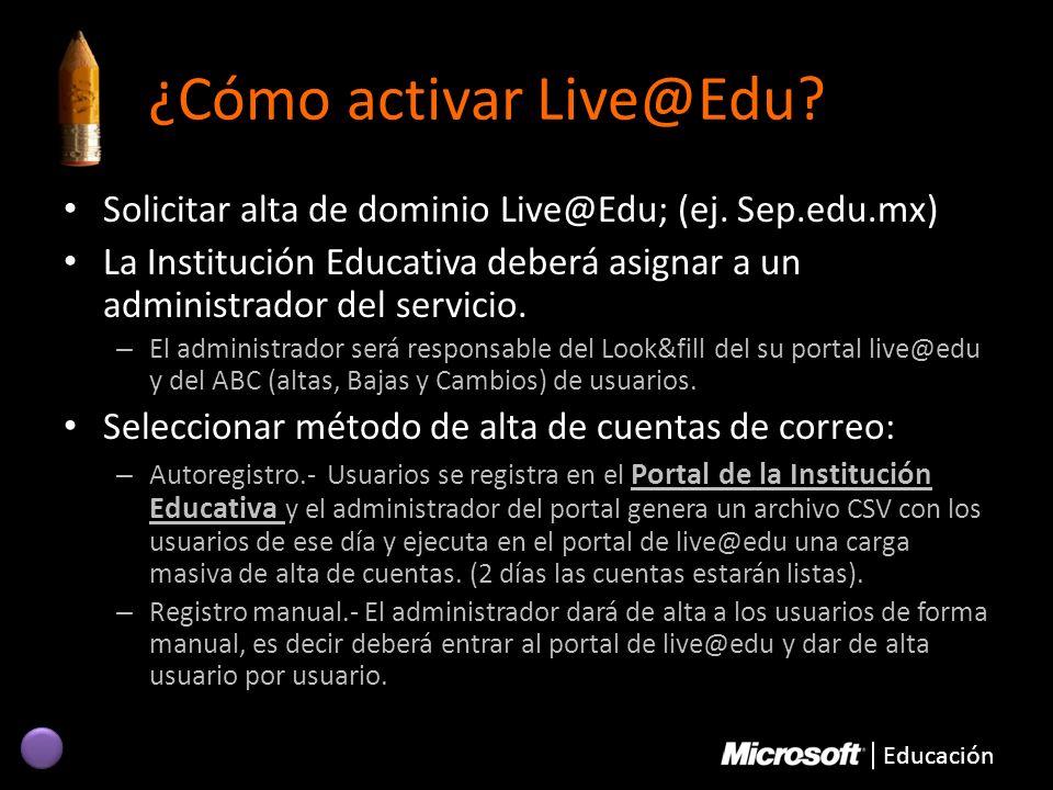 ¿Cómo activar Live@Edu