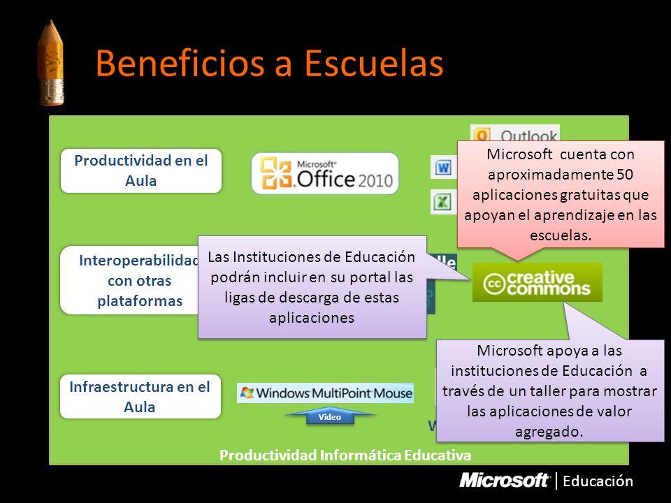 Beneficios a Escuelas Microsoft cuenta con aproximadamente 50 aplicaciones gratuitas que apoyan el aprendizaje en las escuelas.