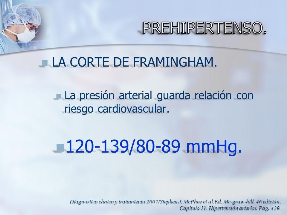 120-139/80-89 mmHg. PREHIPERTENSO. LA CORTE DE FRAMINGHAM.