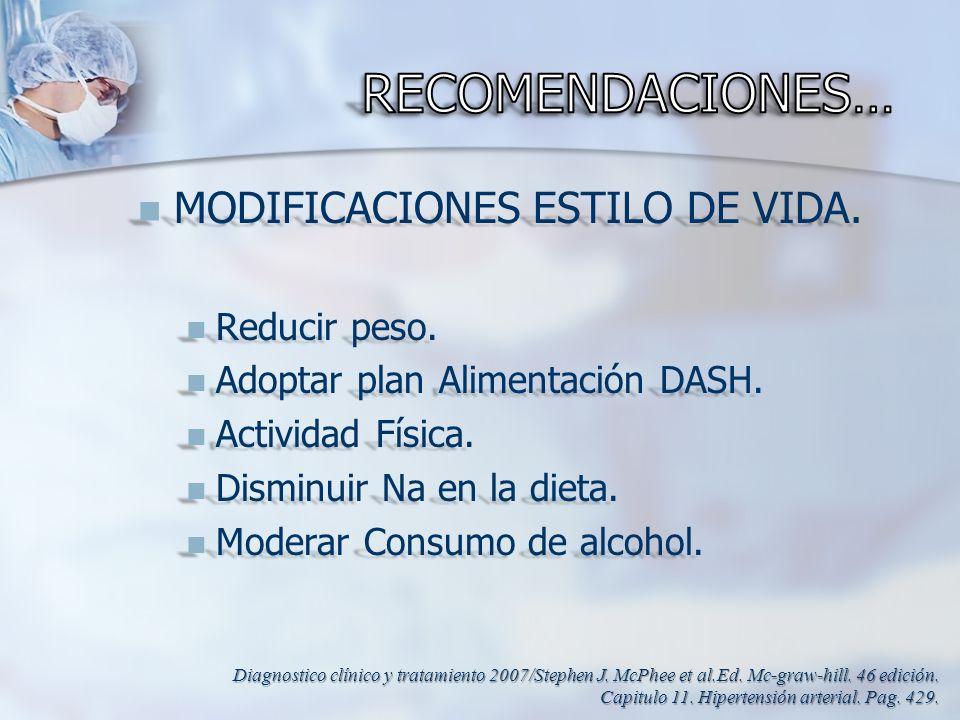 RECOMENDACIONES… MODIFICACIONES ESTILO DE VIDA. Reducir peso.
