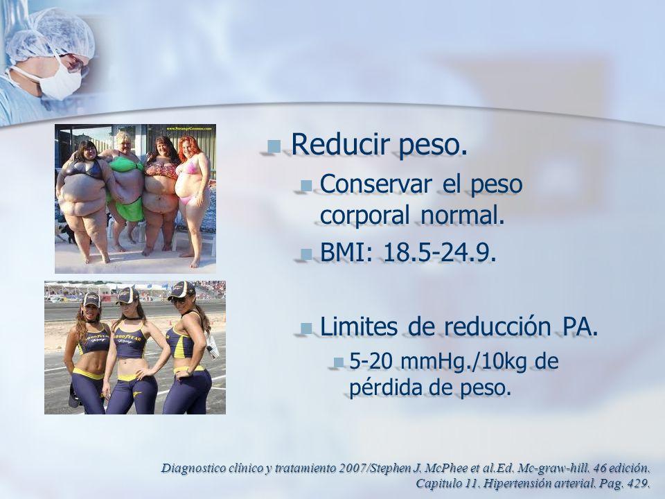 Reducir peso. Conservar el peso corporal normal. BMI: 18.5-24.9.