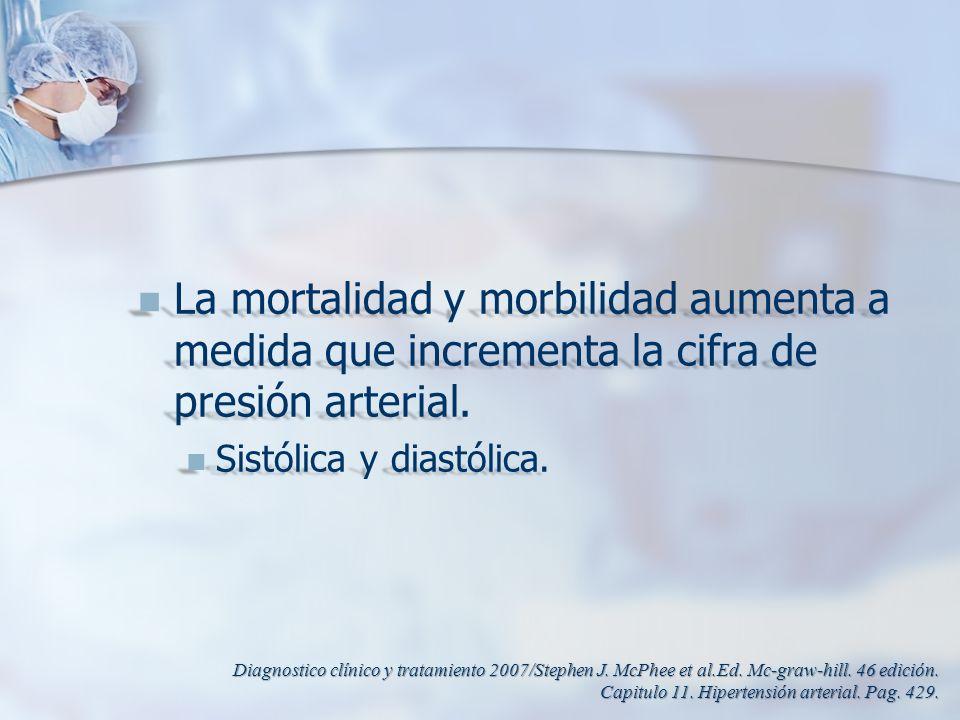 La mortalidad y morbilidad aumenta a medida que incrementa la cifra de presión arterial.