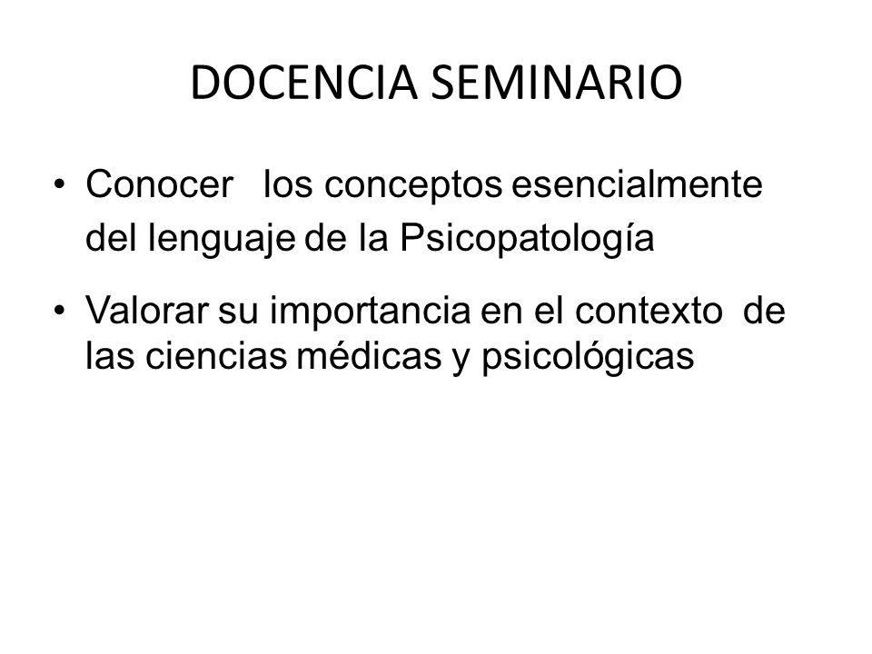 DOCENCIA SEMINARIO Conocer los conceptos esencialmente del lenguaje de la Psicopatología.