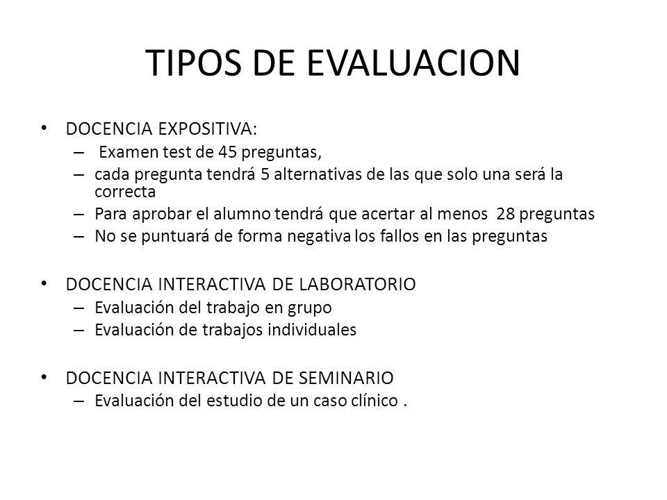 TIPOS DE EVALUACION DOCENCIA EXPOSITIVA: