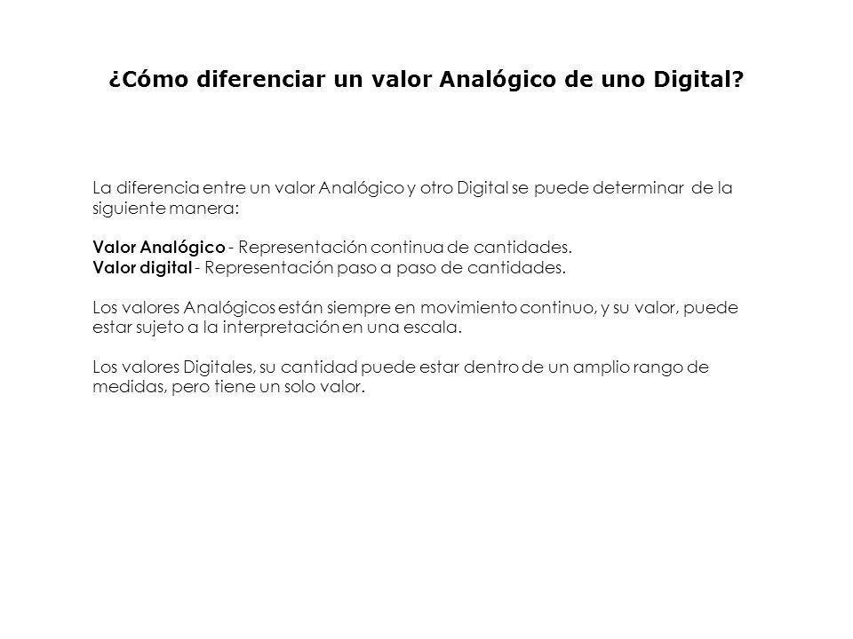 ¿Cómo diferenciar un valor Analógico de uno Digital
