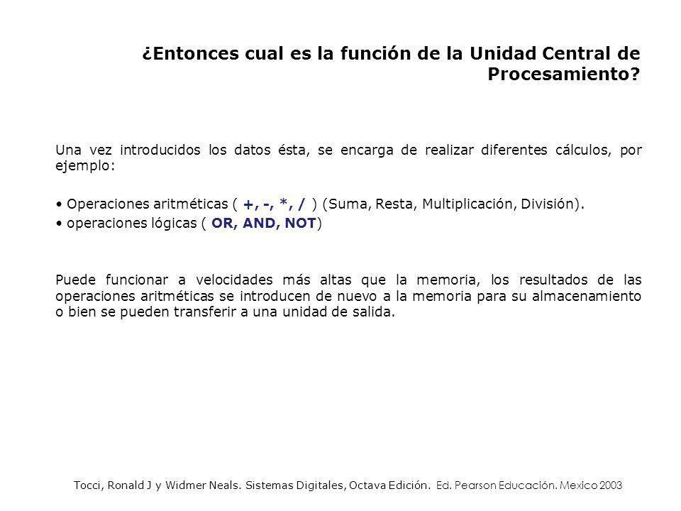 ¿Entonces cual es la función de la Unidad Central de Procesamiento
