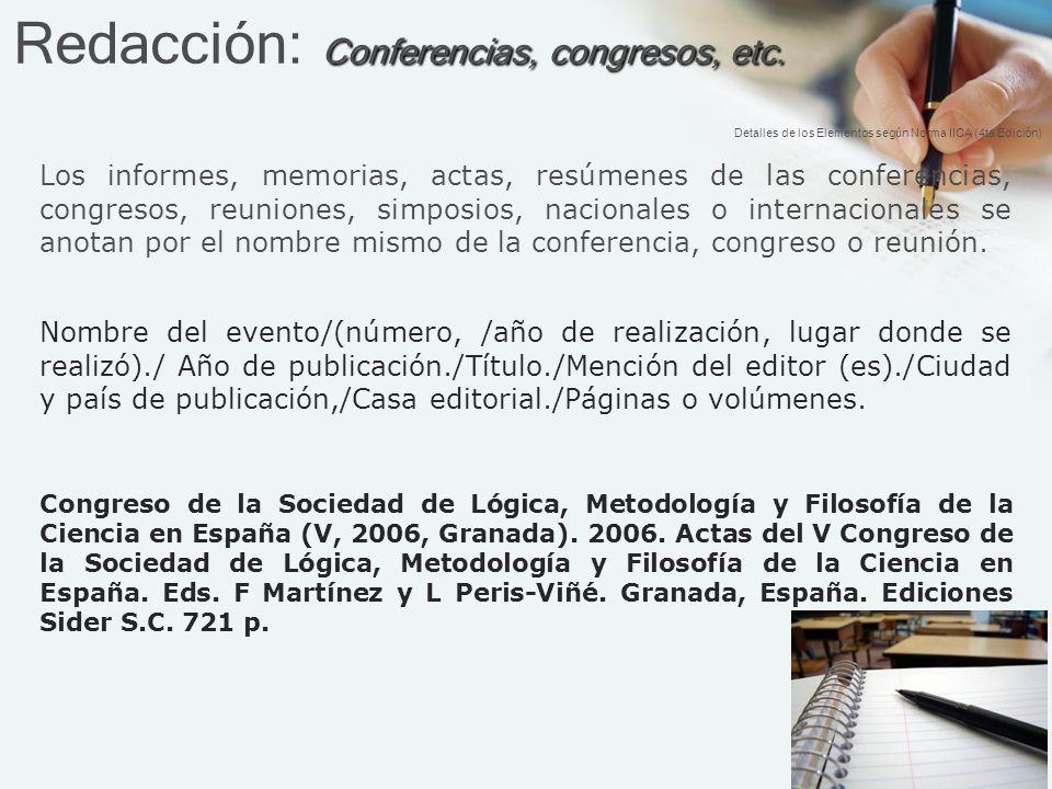 Redacción: Conferencias, congresos, etc.