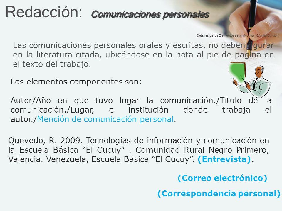 Redacción: Comunicaciones personales