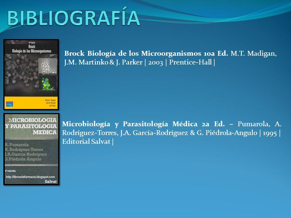 BIBLIOGRAFÍA Brock Biología de los Microorganismos 10a Ed. M.T. Madigan, J.M. Martinko & J. Parker | 2003 | Prentice-Hall |
