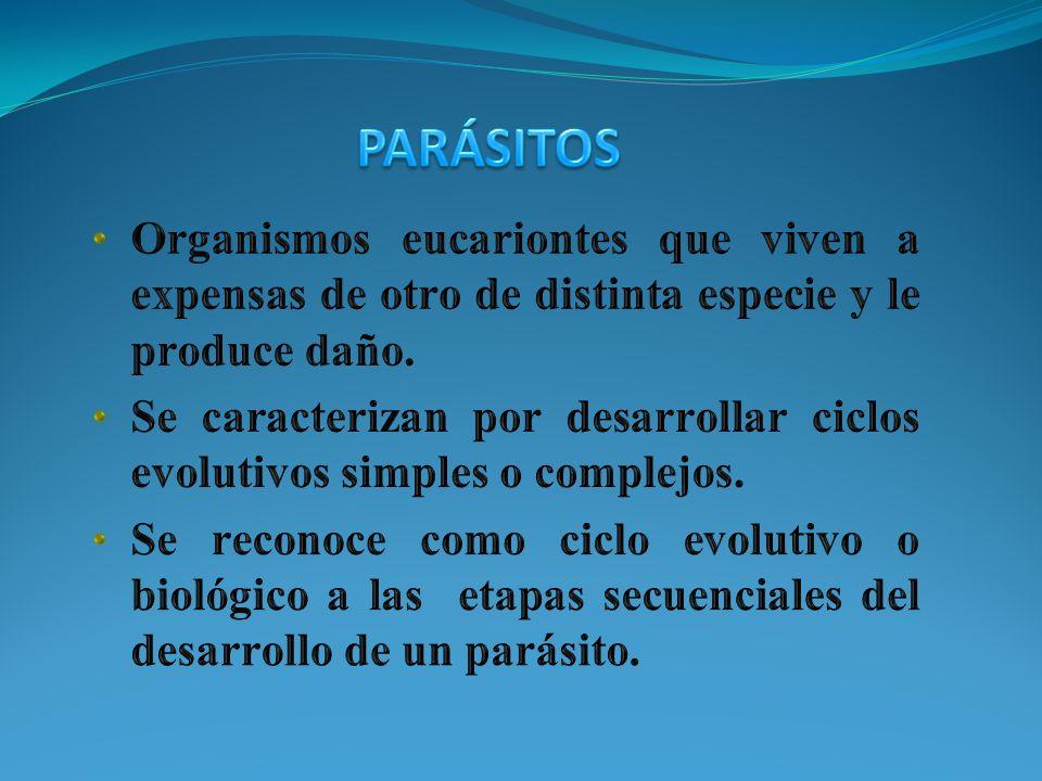 PARÁSITOS Organismos eucariontes que viven a expensas de otro de distinta especie y le produce daño.