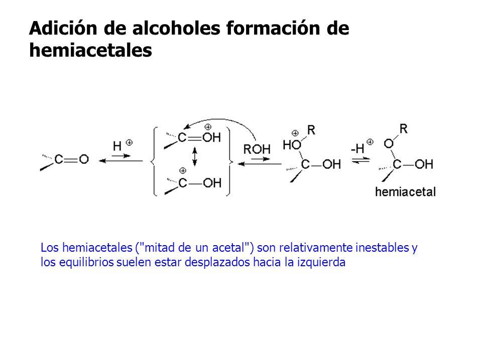 Adición de alcoholes formación de hemiacetales Adición de alcoholes formación de