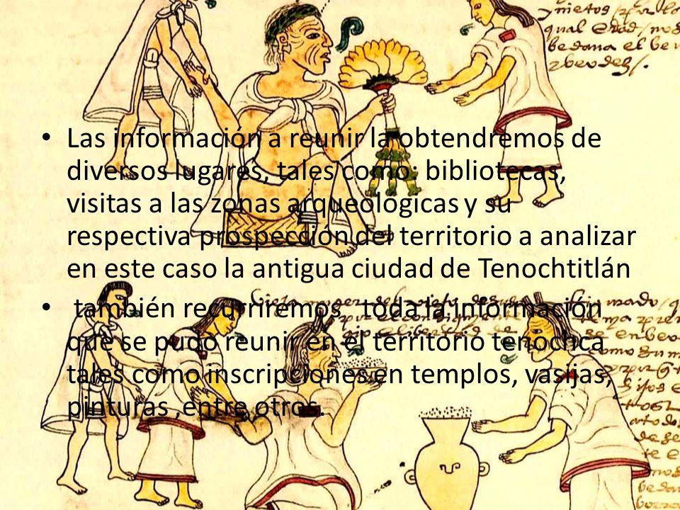 Las información a reunir la obtendremos de diversos lugares, tales como: bibliotecas, visitas a las zonas arqueológicas y su respectiva prospección del territorio a analizar en este caso la antigua ciudad de Tenochtitlán