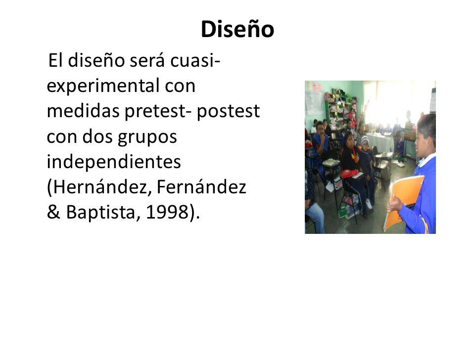 Diseño El diseño será cuasi-experimental con medidas pretest- postest con dos grupos independientes (Hernández, Fernández & Baptista, 1998).