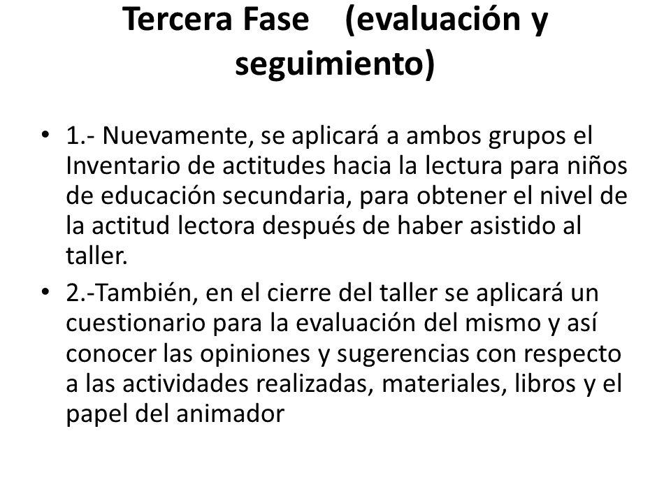 Tercera Fase (evaluación y seguimiento)