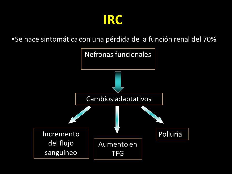 IRC Se hace sintomática con una pérdida de la función renal del 70%
