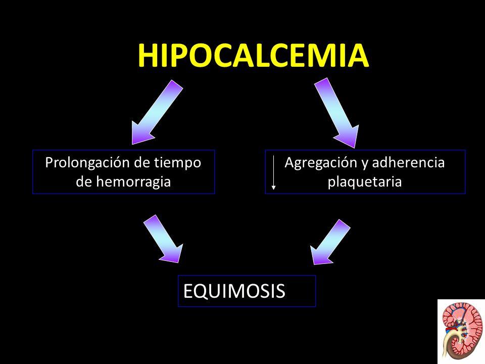 HIPOCALCEMIA EQUIMOSIS Prolongación de tiempo de hemorragia