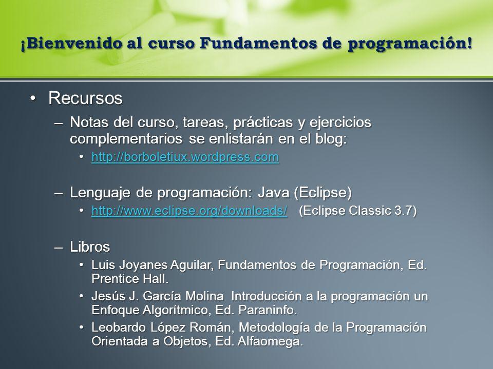 ¡Bienvenido al curso Fundamentos de programación!
