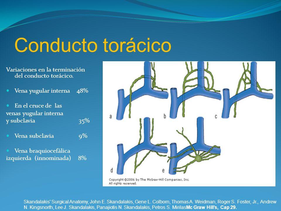 Conducto torácico Variaciones en la terminación del conducto torácico.