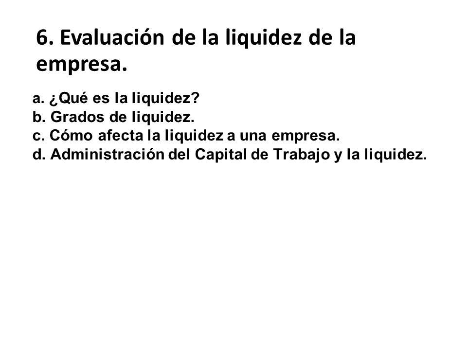 6. Evaluación de la liquidez de la empresa.
