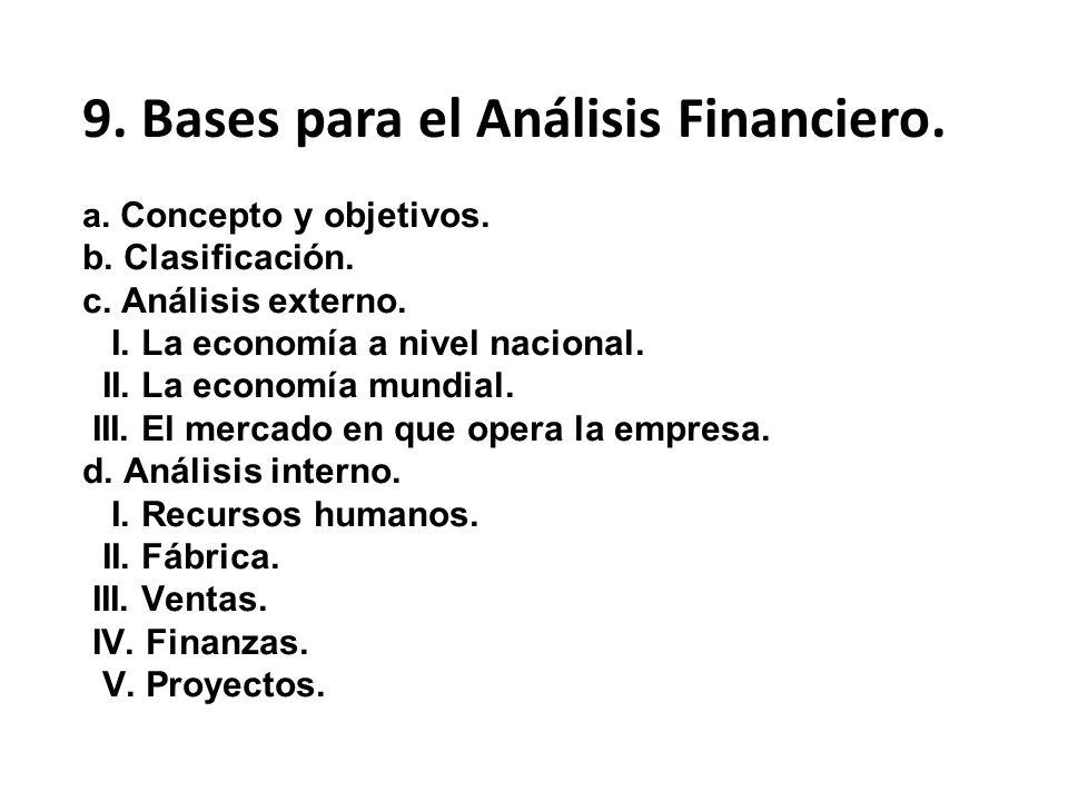 9. Bases para el Análisis Financiero.