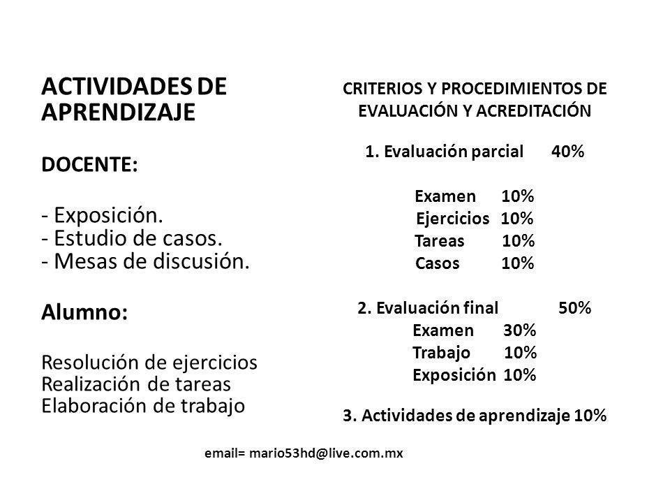 ACTIVIDADES DE APRENDIZAJE - Exposición. - Estudio de casos.
