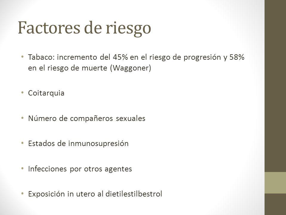 Factores de riesgo Tabaco: incremento del 45% en el riesgo de progresión y 58% en el riesgo de muerte (Waggoner)