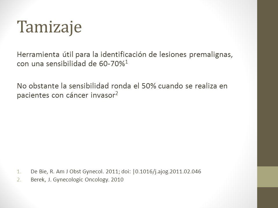 Tamizaje Herramienta útil para la identificación de lesiones premalignas, con una sensibilidad de 60-70%1.