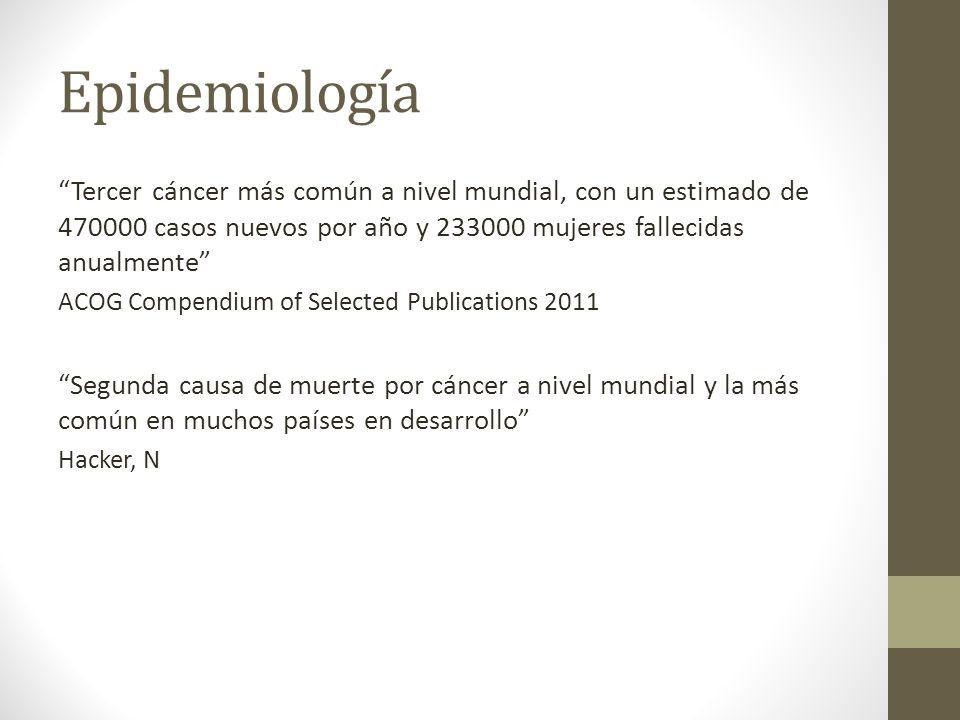 Epidemiología Tercer cáncer más común a nivel mundial, con un estimado de 470000 casos nuevos por año y 233000 mujeres fallecidas anualmente