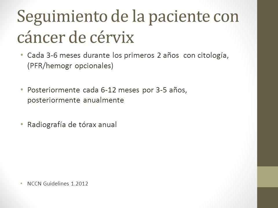 Seguimiento de la paciente con cáncer de cérvix