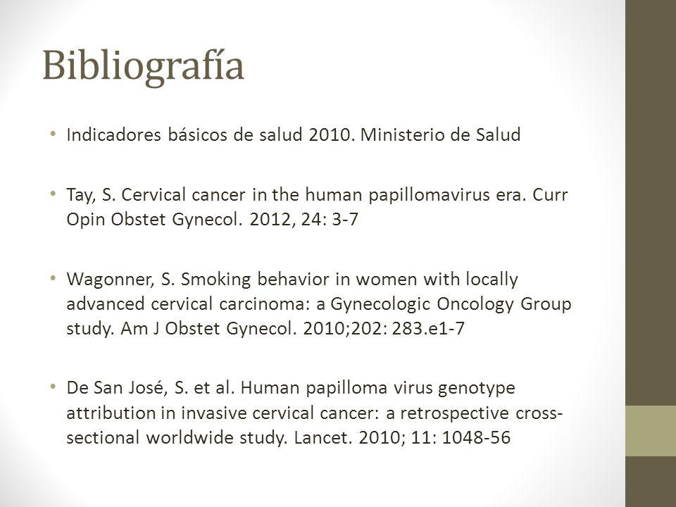 Bibliografía Indicadores básicos de salud 2010. Ministerio de Salud