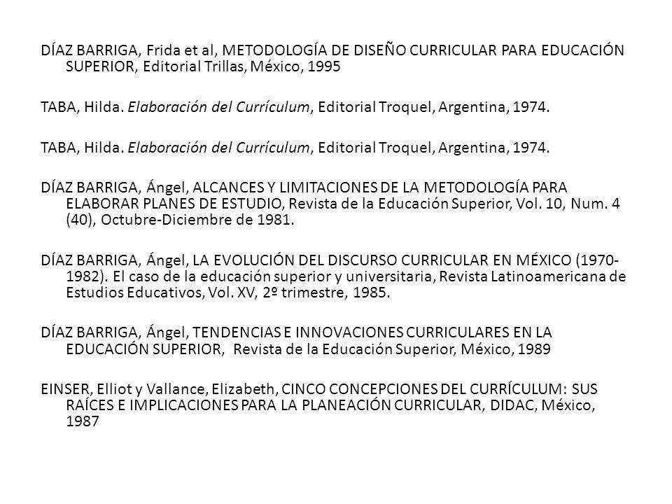 DÍAZ BARRIGA, Frida et al, METODOLOGÍA DE DISEÑO CURRICULAR PARA EDUCACIÓN SUPERIOR, Editorial Trillas, México, 1995 TABA, Hilda.