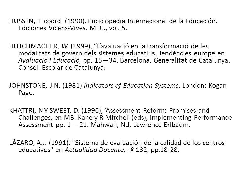 HUSSEN, T. coord. (1990). Enciclopedia Internacional de la Educación