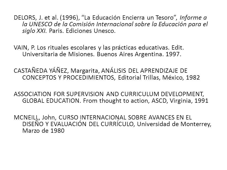 DELORS, J. et al. (1996), La Educación Encierra un Tesoro , Informe a la UNESCO de la Comisión Internacional sobre la Educación para el siglo XXI. Paris. Ediciones Unesco.