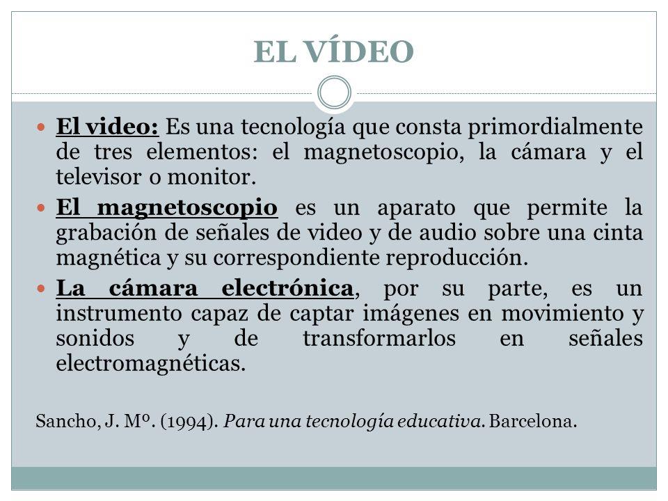 EL VÍDEO El video: Es una tecnología que consta primordialmente de tres elementos: el magnetoscopio, la cámara y el televisor o monitor.