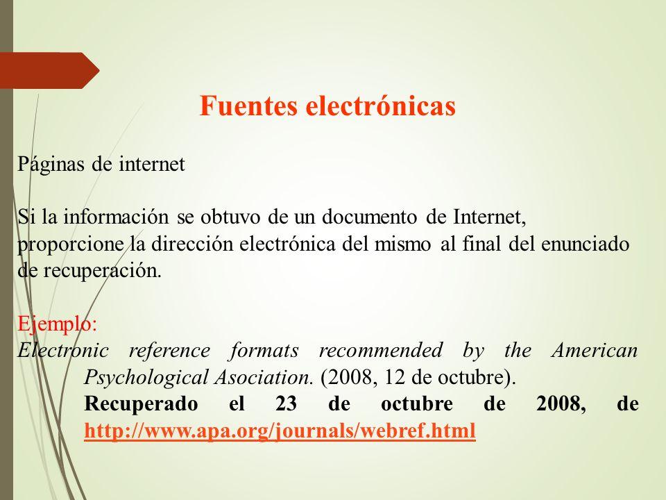 Fuentes electrónicas Páginas de internet