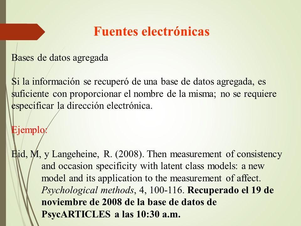 Fuentes electrónicas Bases de datos agregada