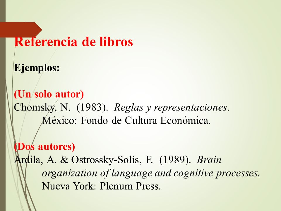 Referencia de libros Ejemplos: (Un solo autor)