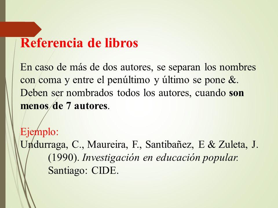 Referencia de libros