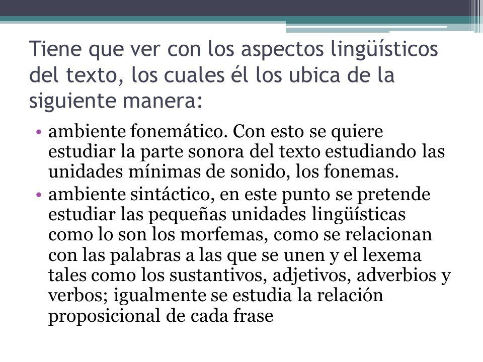 Tiene que ver con los aspectos lingüísticos del texto, los cuales él los ubica de la siguiente manera: