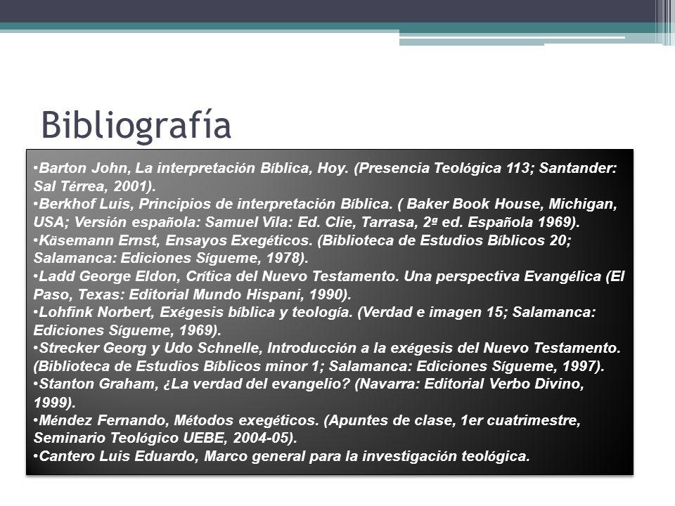 Bibliografía Barton John, La interpretación Bíblica, Hoy. (Presencia Teológica 113; Santander: Sal Térrea, 2001).