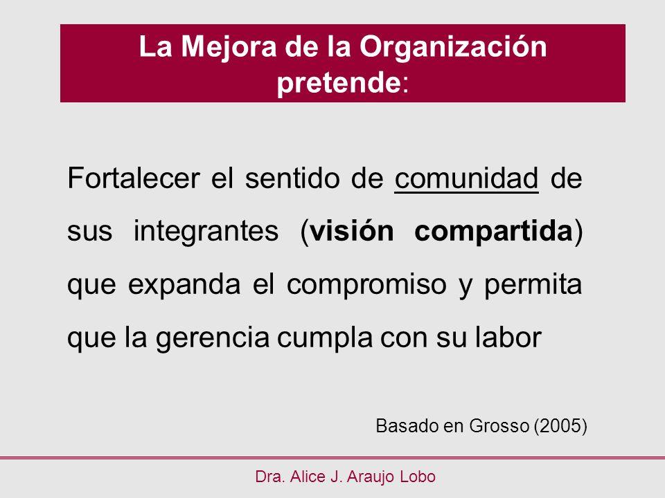 La Mejora de la Organización pretende: