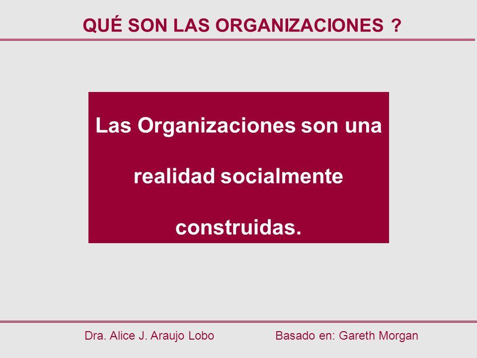 Las Organizaciones son una realidad socialmente construidas.