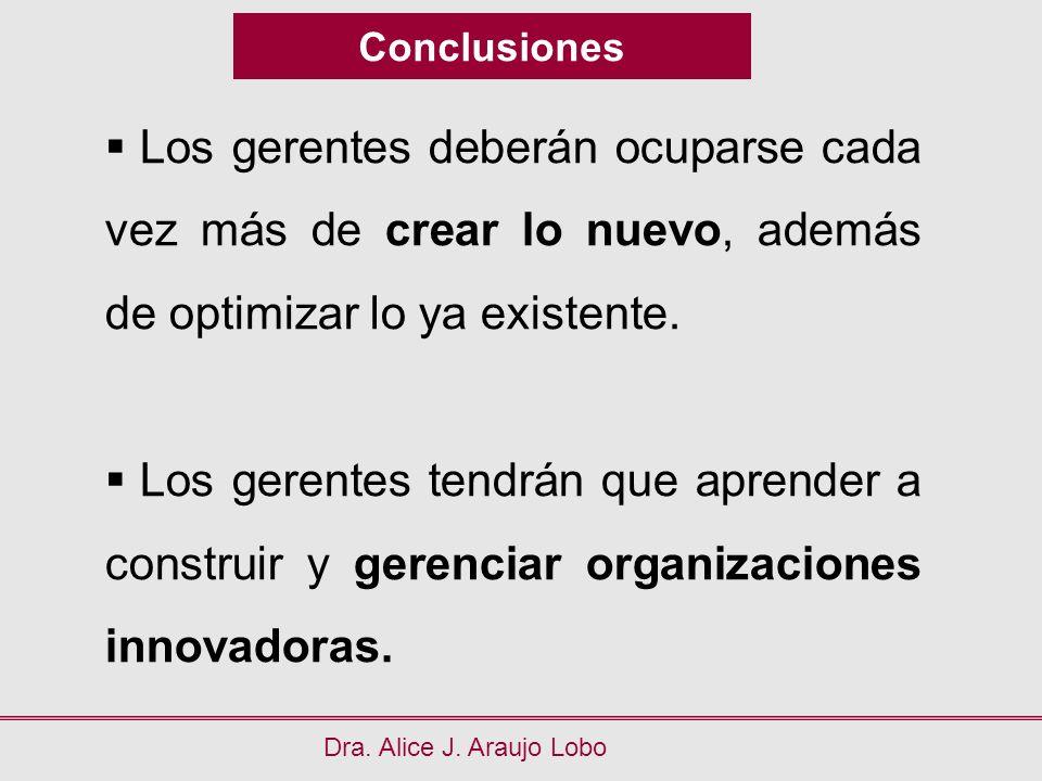Conclusiones Los gerentes deberán ocuparse cada vez más de crear lo nuevo, además de optimizar lo ya existente.