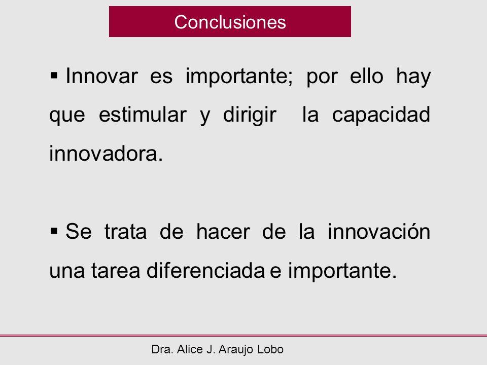 Conclusiones Innovar es importante; por ello hay que estimular y dirigir la capacidad innovadora.