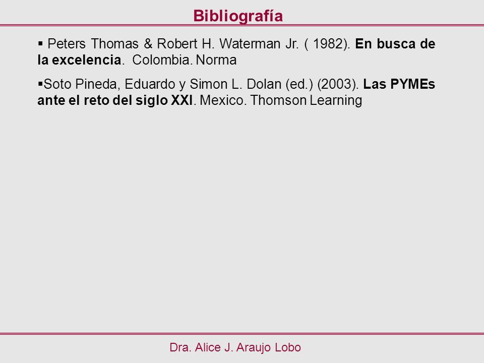 Bibliografía Peters Thomas & Robert H. Waterman Jr. ( 1982). En busca de la excelencia. Colombia. Norma.