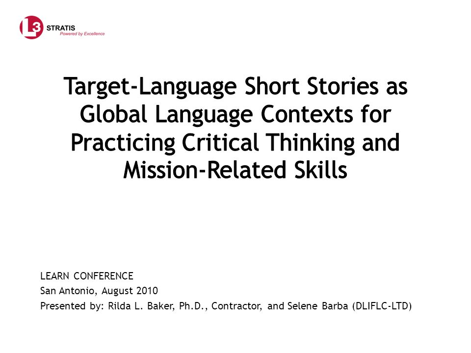 Target-Language Short Stories as Global Language Contexts for Practicing Critical Thinking and Mission-Related Skills