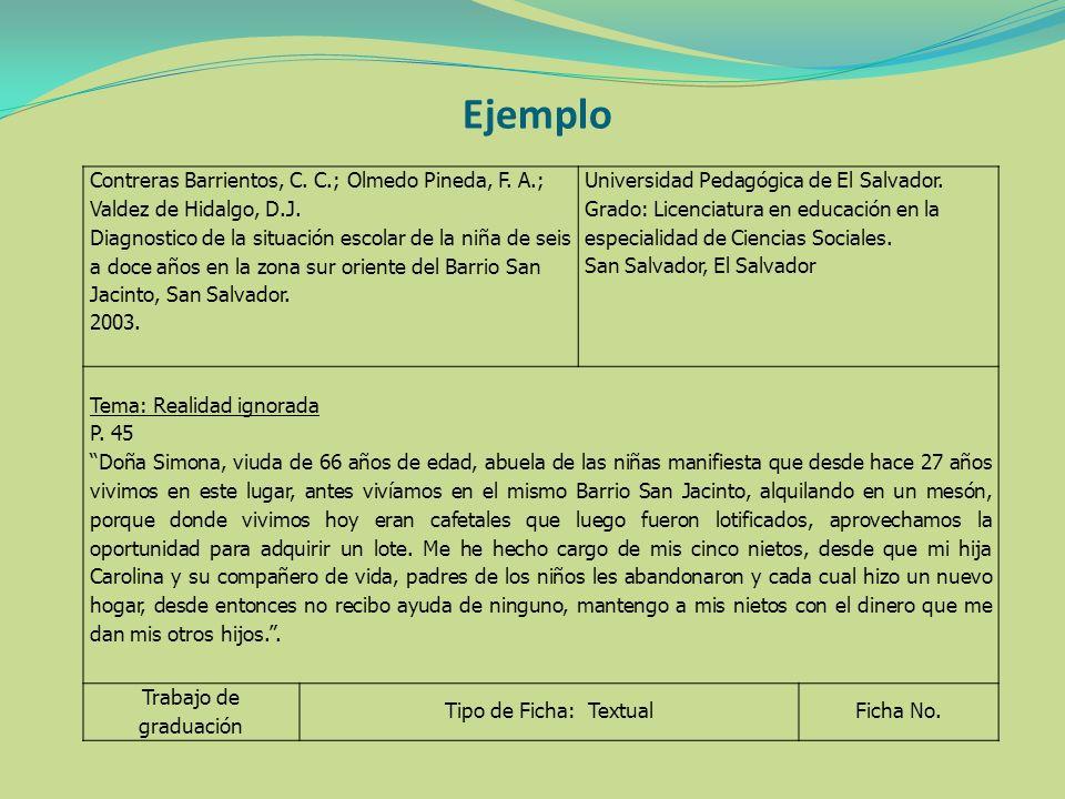 Ejemplo Contreras Barrientos, C. C.; Olmedo Pineda, F. A.; Valdez de Hidalgo, D.J.