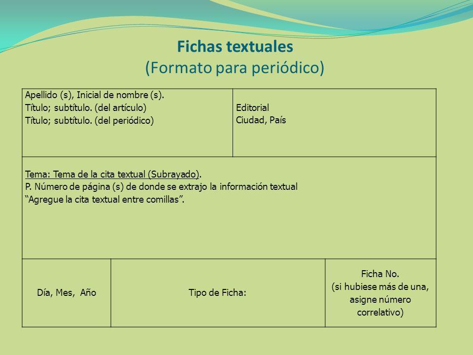 Fichas textuales (Formato para periódico)