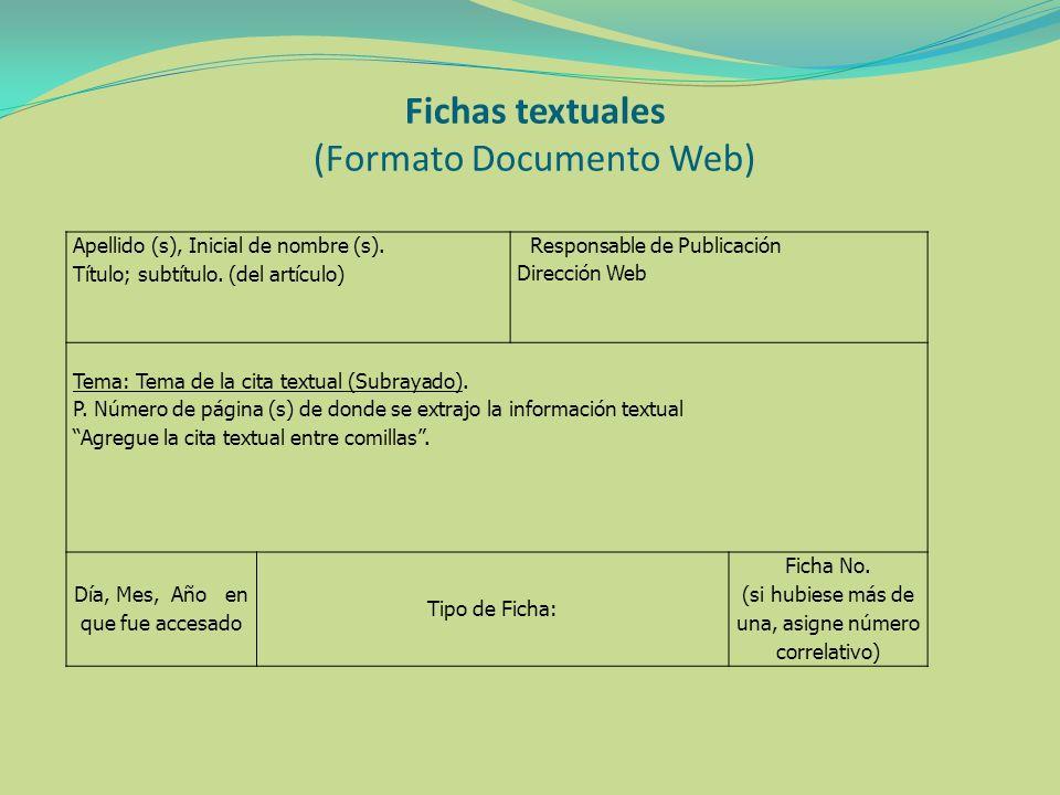 Fichas textuales (Formato Documento Web)