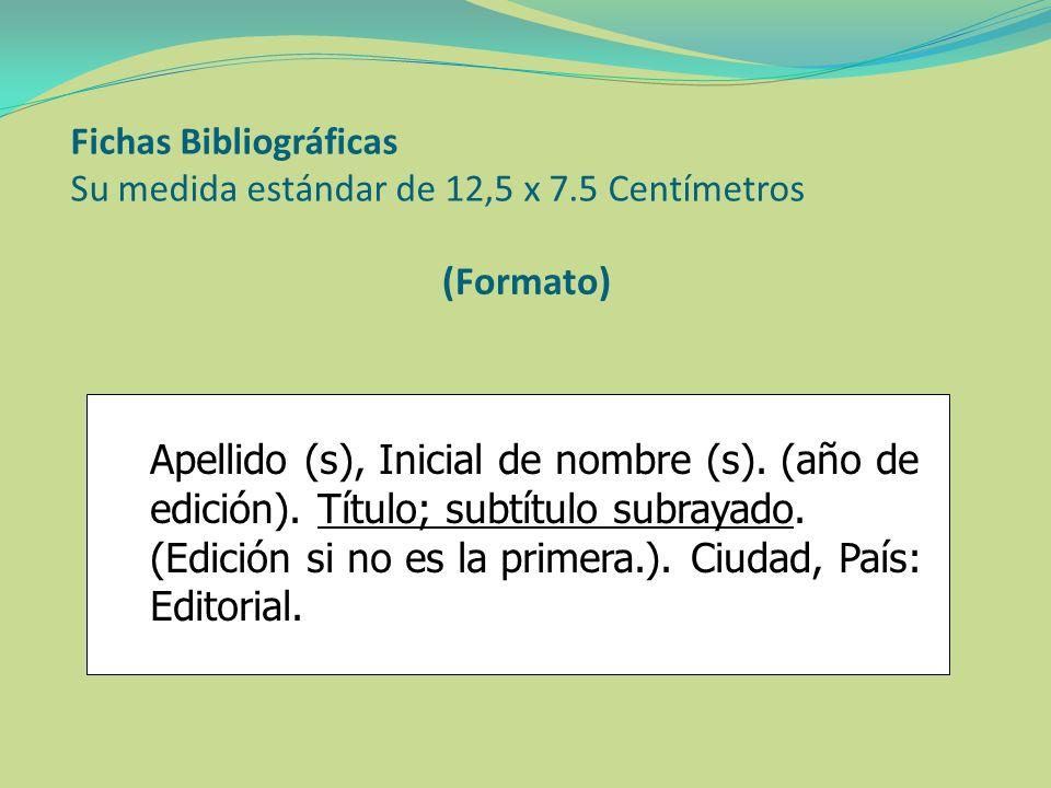 Fichas Bibliográficas Su medida estándar de 12,5 x 7.5 Centímetros